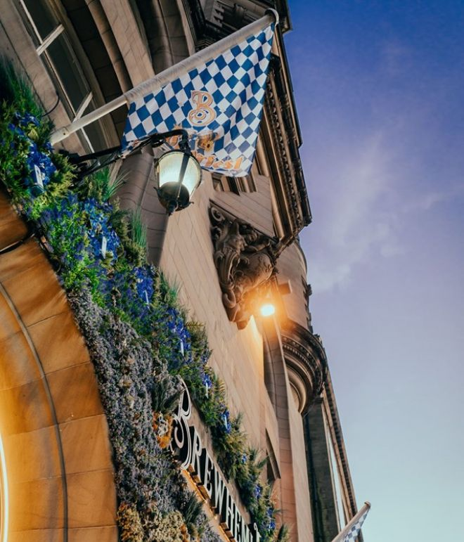 Oktoberfest flag above the Brewhemia entrance