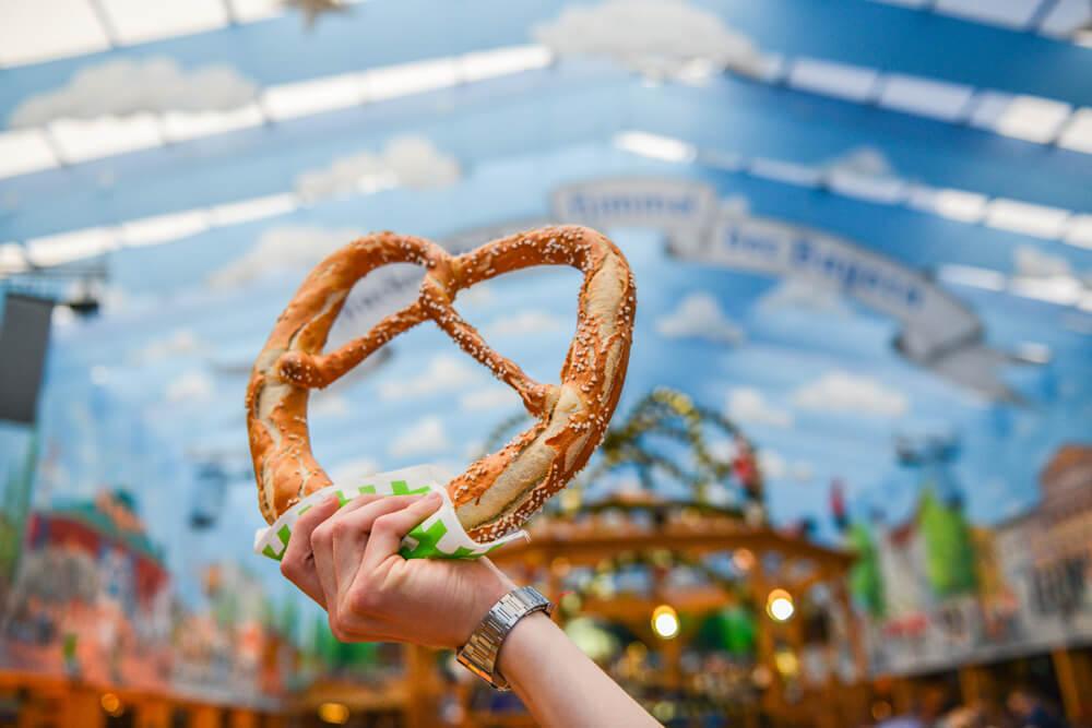 A giant pretzel is held high during Oktoberfest